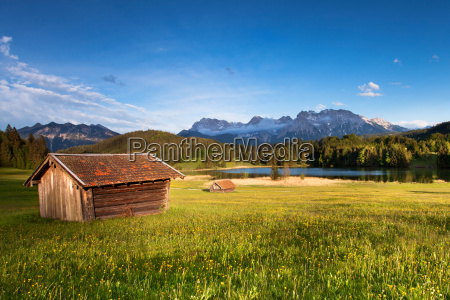 holzhuette on the geroldsee with karwendel