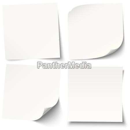 notas brancas com diferentes sombras