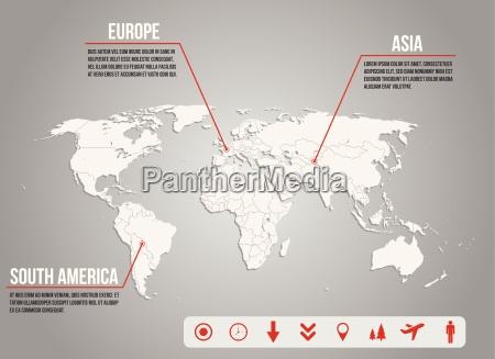mapa world infografico com varios icones