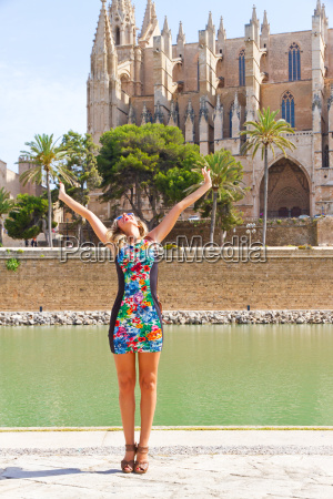 young happy woman on mallorca