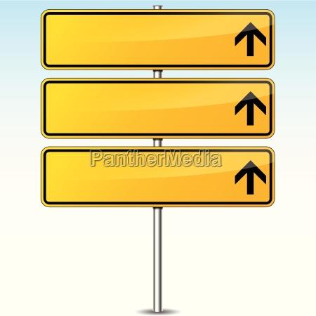 sinal de estrada em branco amarelo