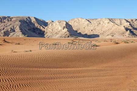 hajar mountains and desert landscape in