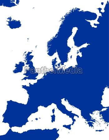 silhueta politica do mapa de europa