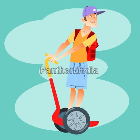 turista jovem em scooter eletrico
