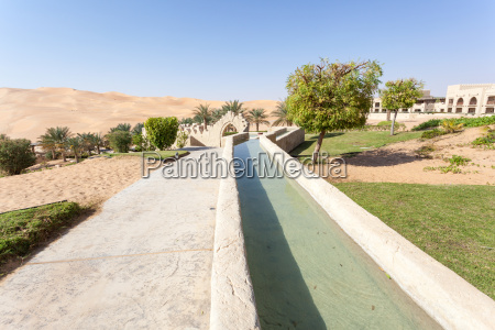 irrigation canal in a desert resort