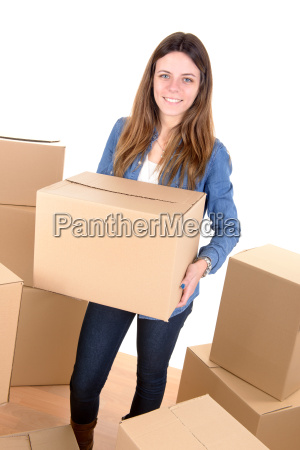 girl with boxes