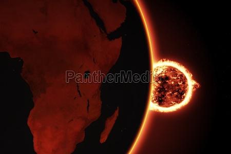 espaco quente ilustracao fogo globo terra