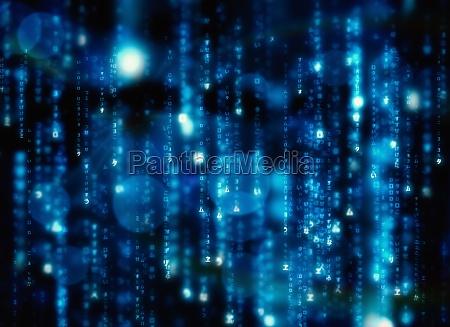 matriz preto e azul gerada digitalmente