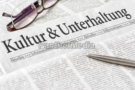 cultura e entretenimento encabecado do jornal