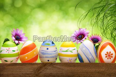 easter eggs before bokeh background