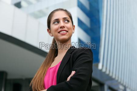 portrait confident business woman looking copy