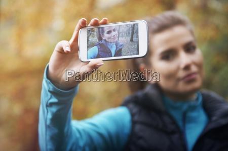 selfie na rede social do jogging