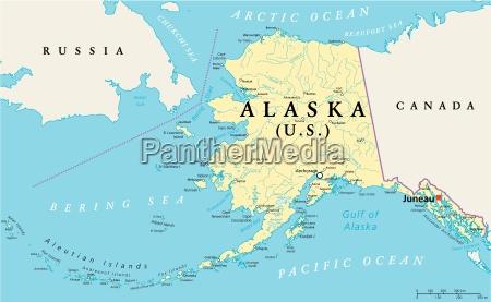 mapa politico do alasca