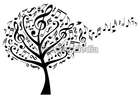 arvore da musica com notas musicais