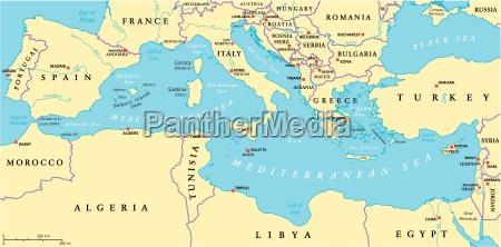 mar mediterraneo regiao mapa politico