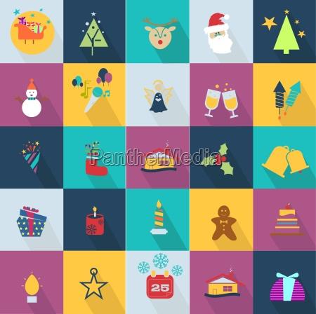 Icones do natal ajustados com os