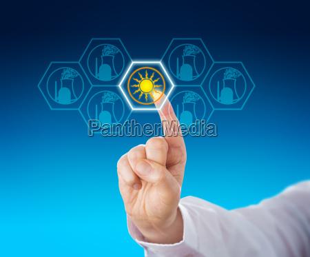 energia solar selecionada sobre a energia
