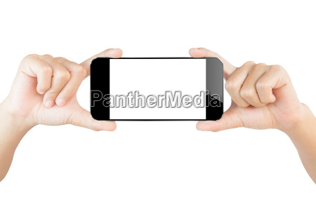 hand show smartphone isolated white clipping