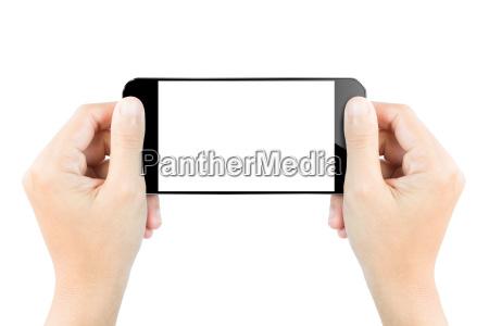 closeup mao segurar smartphone mostrar tela