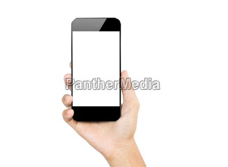 closeup, mão, segure, smartphone, móvel, isolado - 14225237