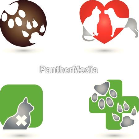 gato cachorro logotipo animal guardiao animal