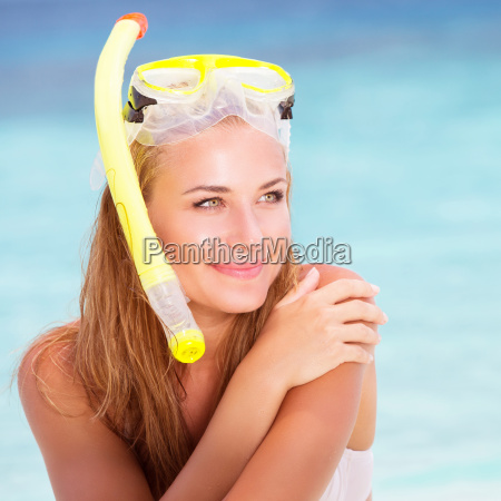 happy female enjoying beach activities