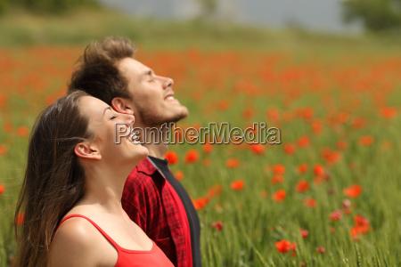 pares felizes que respiram o ar