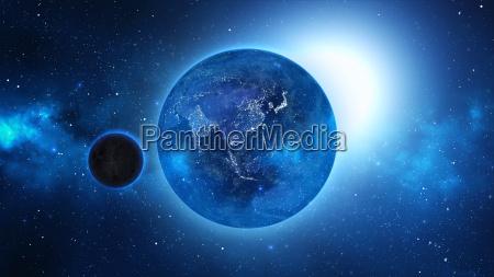 terra do planeta com sol no