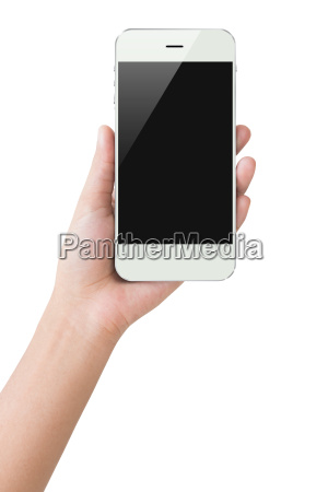 hand hold phone display clipping path