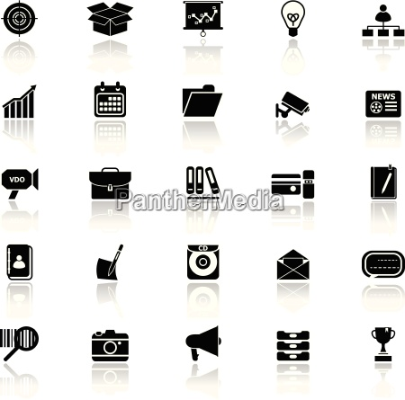 data and information icons with reflect