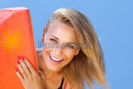 happy girl surfer