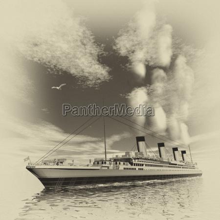 navio titanico renderizacao em 3d