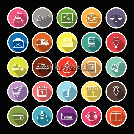 international business line flat icons with
