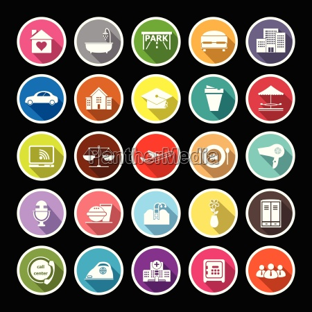 hospitality business flat icons with long