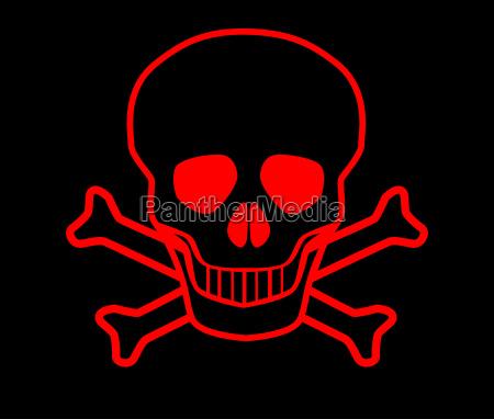 cranio e crossbones vermelhos