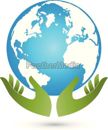 terra e maos globo globo vetor
