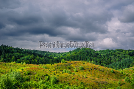 dark clouds hanging over green nature