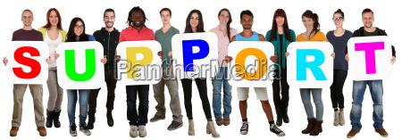 grupo de jovens multiculturais manter word