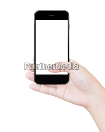 hand holding black smartphone clipping path