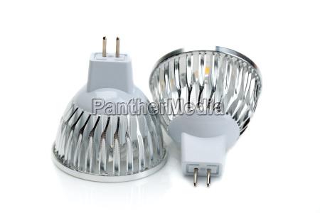 duas lampadas led mr16 isole no