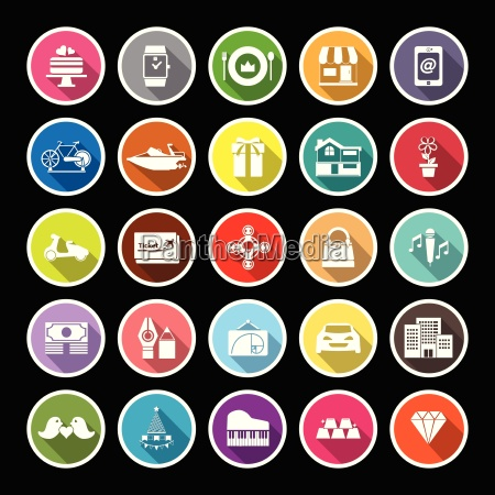 birthday gift flat icons with long