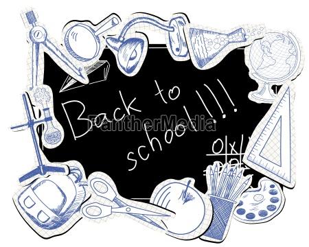 quadro negro com simbolos educacionais