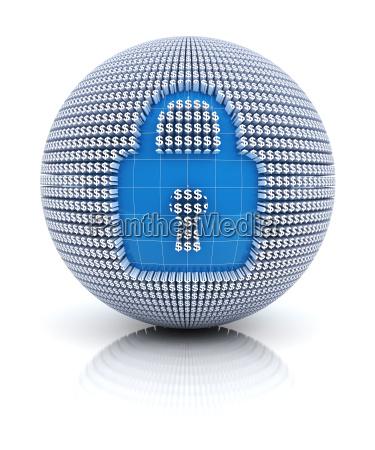 icone de seguranca no globo formado