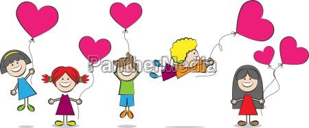 criancas com ilustracao baloes do coracao