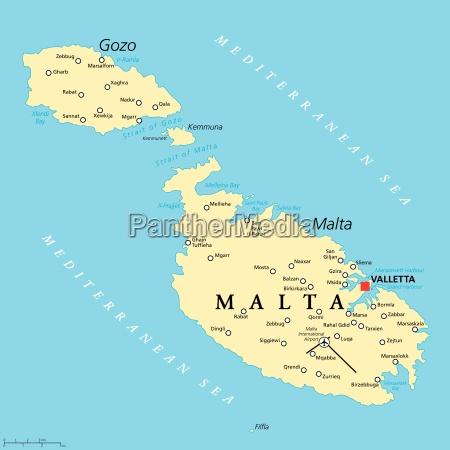 malta mapa politico