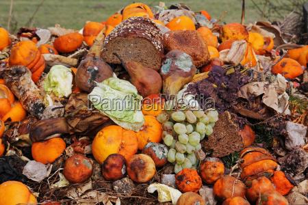 fruta e pao descartados no lixo
