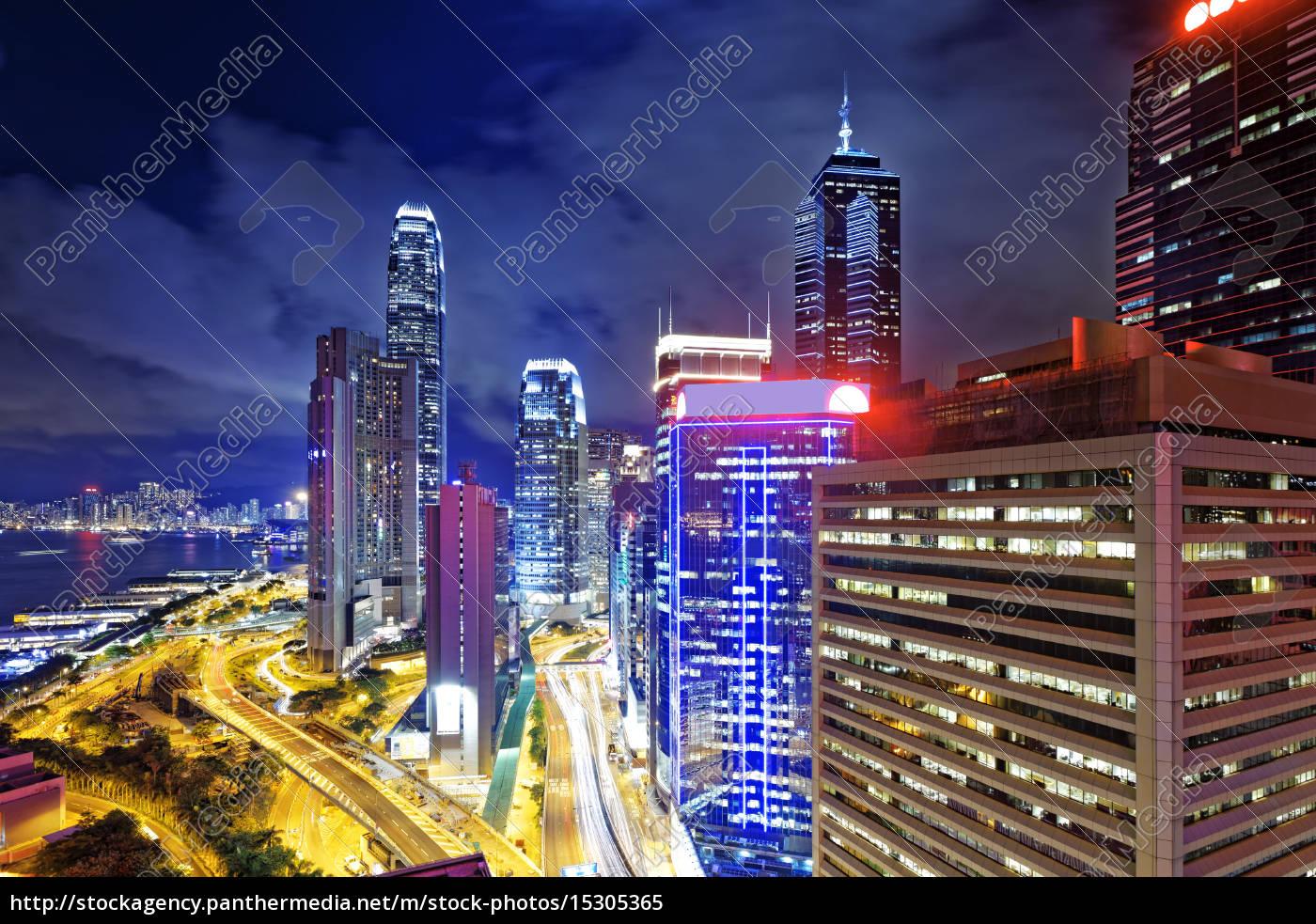 noite, da, cidade, de, hong, kong - 15305365