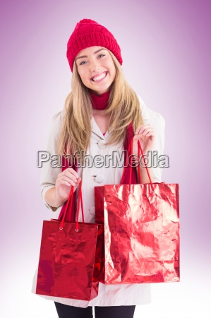 pretty blonde holding shopping bags