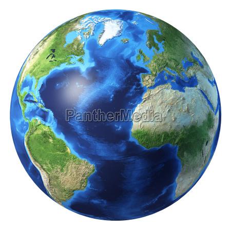 globo terrestre renderizacao 3d realista vista