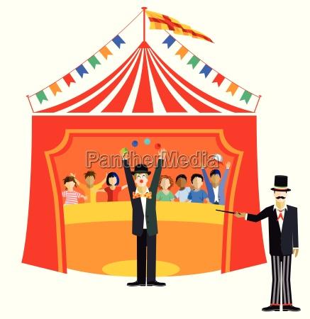 palhaco de circo e ringmaster